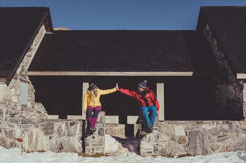 Preboda en el pirineo con nieve
